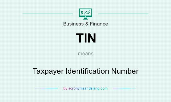 What does TIN mean? It stands for Taxpayer Identification Number