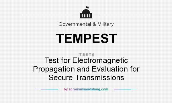 What does TEMPEST mean? It stands for Test for Electromagnetic Propagation and Evaluation for Secure Transmissions