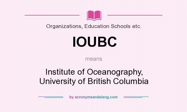 What does IOUBC mean? It stands for Institute of Oceanography, University of British Columbia