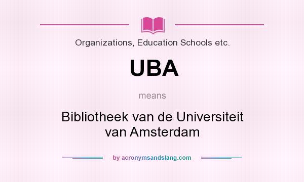 What does UBA mean? It stands for Bibliotheek van de Universiteit van Amsterdam