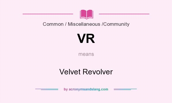 What does VR mean? It stands for Velvet Revolver