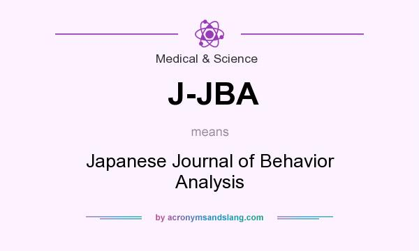 What does J-JBA mean? It stands for Japanese Journal of Behavior Analysis