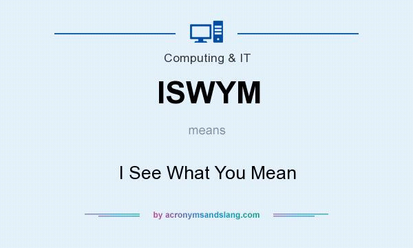 What does ISWYM mean? It stands for I See What You Mean
