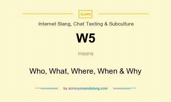W5 - Who, What, Where, When & Why in Internet Slang, Chat
