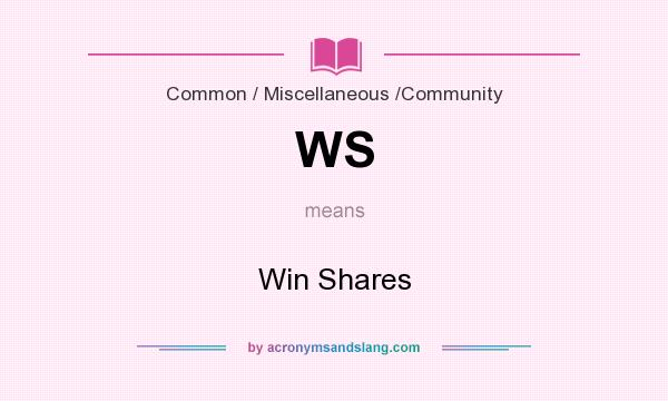 What does WS mean? It stands for Win Shares