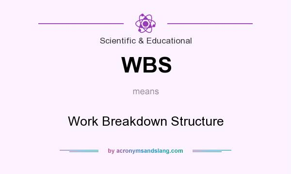 What does WBS mean? It stands for Work Breakdown Structure