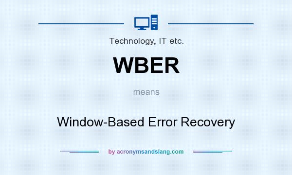 What does WBER mean? It stands for Window-Based Error Recovery