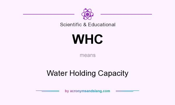 What does WHC mean? It stands for Water Holding Capacity