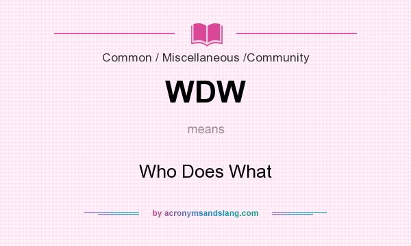 What does WDW mean? It stands for Who Does What