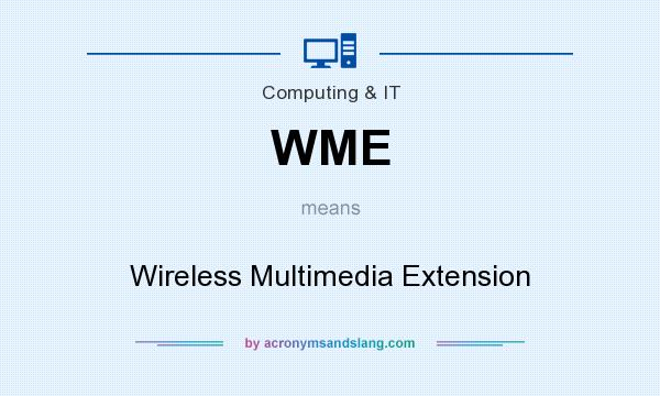 What does WME mean? It stands for Wireless Multimedia Extension