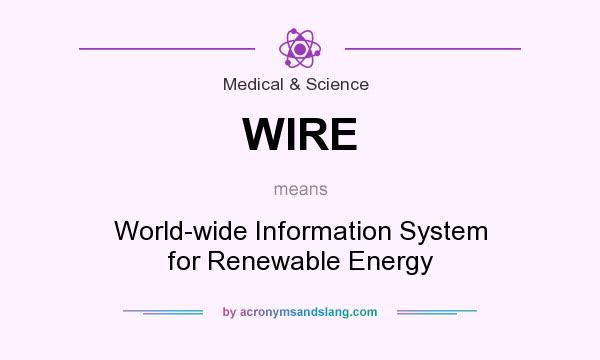 What does WIRE mean? It stands for World-wide Information System for Renewable Energy
