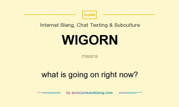 What does WIGORN mean? It stands for what is going on right now?