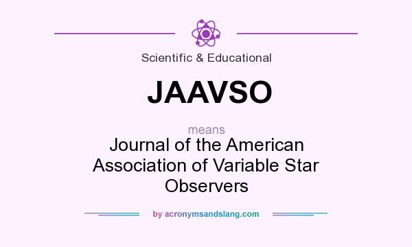 What does JAAVSO mean? It stands for Journal of the American Association of Variable Star Observers