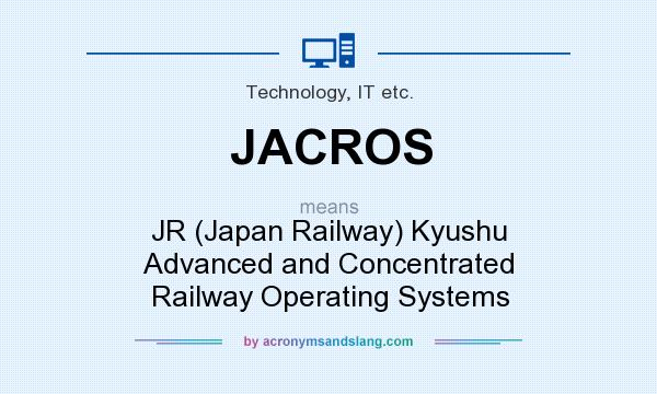 What does JACROS mean? It stands for JR (Japan Railway) Kyushu Advanced and Concentrated Railway Operating Systems