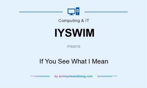 What does IYSWIM mean? It stands for If You See What I Mean