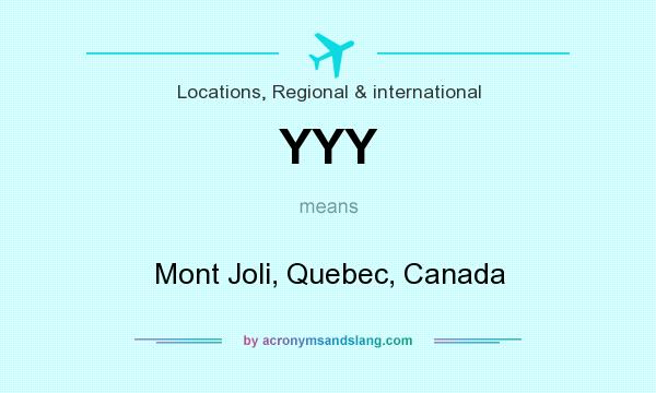What does YYY mean? It stands for Mont Joli, Quebec, Canada