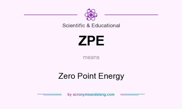 What does ZPE mean? It stands for Zero Point Energy