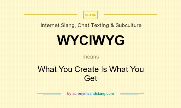 What does WYCIWYG mean? It stands for What You Create Is What You Get