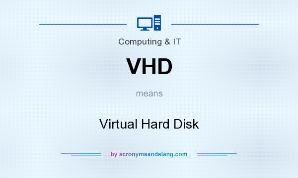 What does VHD mean? It stands for Virtual Hard Disk
