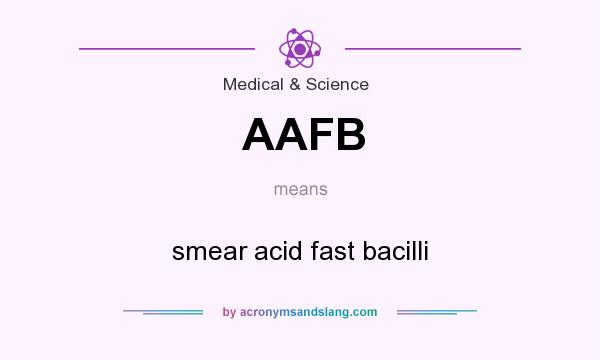 What does AAFB mean? It stands for smear acid fast bacilli