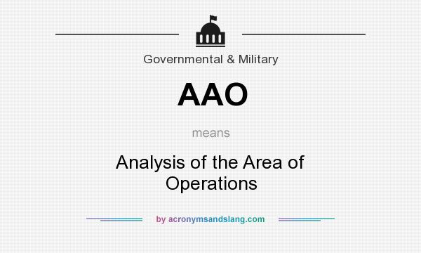 What does AAO mean? It stands for Analysis of the Area of Operations