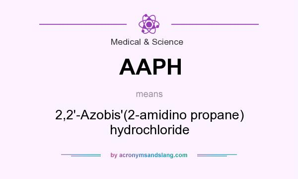 What does AAPH mean? It stands for 2,2`-Azobis`(2-amidino propane) hydrochloride
