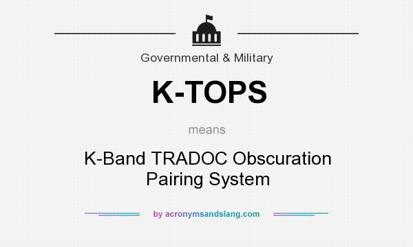 What does K-TOPS mean? It stands for K-Band TRADOC Obscuration Pairing System