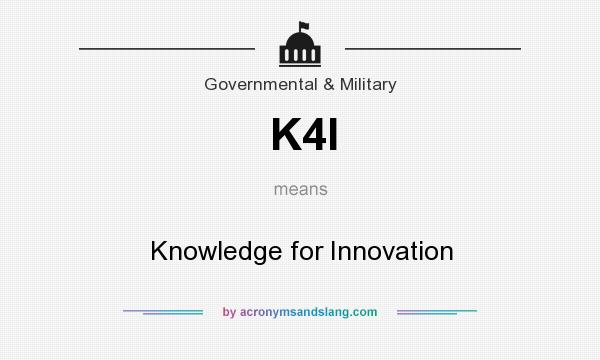 What does K4I mean? It stands for Knowledge for Innovation