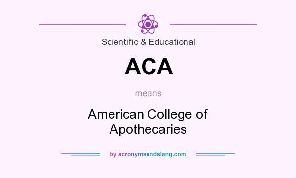 What does ACA mean? It stands for American College of Apothecaries
