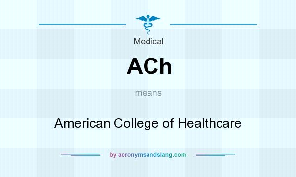 What does ACh mean? It stands for American College of Healthcare