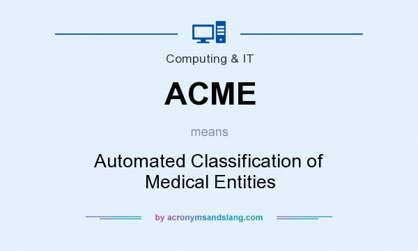 What does ACME mean? It stands for Automated Classification of Medical Entities