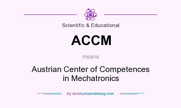 What does ACCM mean? It stands for Austrian Center of Competences in Mechatronics