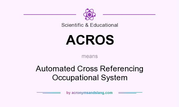 What does ACROS mean? It stands for Automated Cross Referencing Occupational System