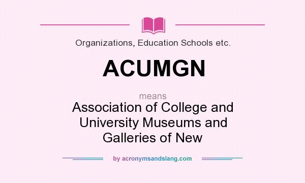 What does ACUMGN mean? It stands for Association of College and University Museums and Galleries of New