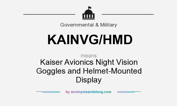 What does KAINVG/HMD mean? It stands for Kaiser Avionics Night Vision Goggles and Helmet-Mounted Display