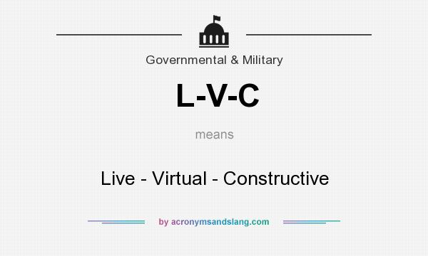 What does L-V-C mean? It stands for Live - Virtual - Constructive