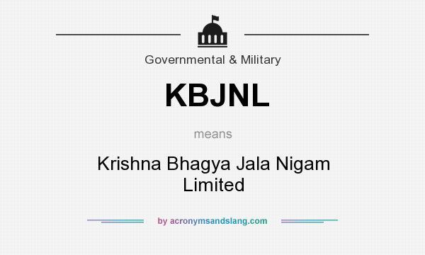 What does KBJNL mean? It stands for Krishna Bhagya Jala Nigam Limited