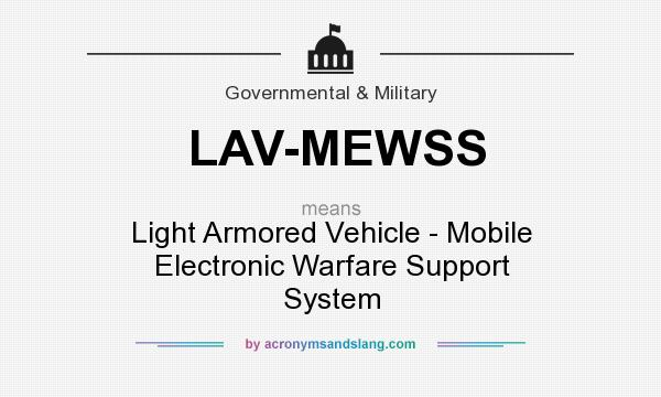 What does LAV-MEWSS mean? It stands for Light Armored Vehicle - Mobile Electronic Warfare Support System