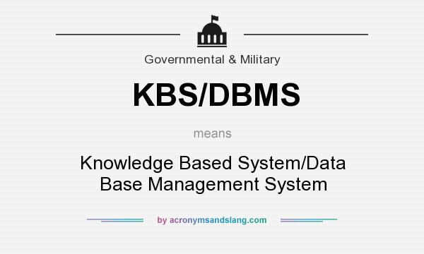 What does KBS/DBMS mean? It stands for Knowledge Based System/Data Base Management System