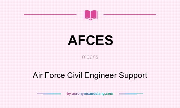 What does AFCES mean? It stands for Air Force Civil Engineer Support