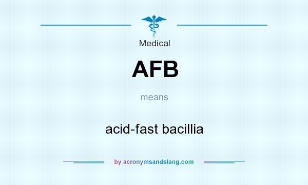 What does AFB mean? It stands for acid-fast bacillia