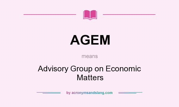 What does AGEM mean? It stands for Advisory Group on Economic Matters