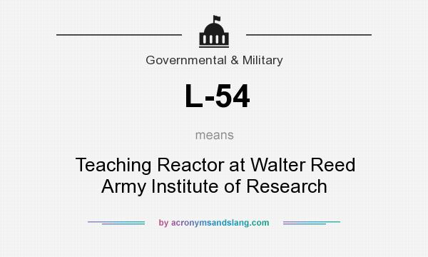 What does L-54 mean? It stands for Teaching Reactor at Walter Reed Army Institute of Research
