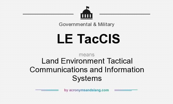 What does LE TacCIS mean? It stands for Land Environment Tactical Communications and Information Systems