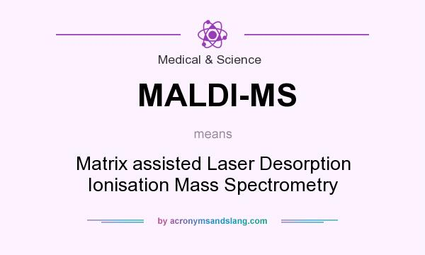 What does MALDI-MS mean? It stands for Matrix assisted Laser Desorption Ionisation Mass Spectrometry