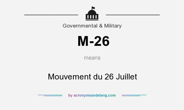 What does M-26 mean? It stands for Mouvement du 26 Juillet