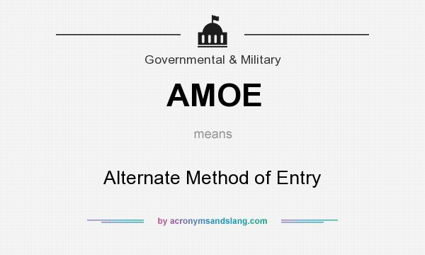 What does AMOE mean? It stands for Alternate Method of Entry