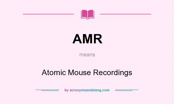 What does AMR mean? It stands for Atomic Mouse Recordings