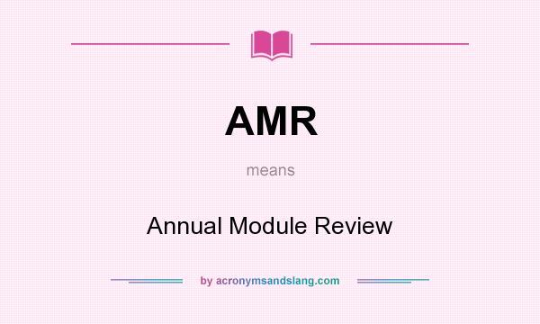 What does AMR mean? It stands for Annual Module Review