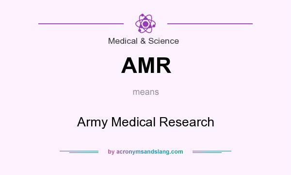 What does AMR mean? It stands for Army Medical Research